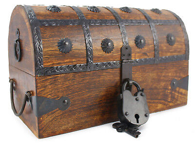 Wooden Pirate Treasure Chest Nautical Box With Antique Cove Style Lock And Key  - Wooden Treasure Chest Box