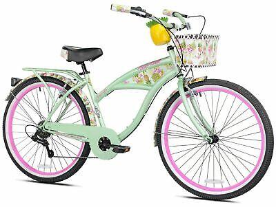 "Women's Margaritaville Cruiser Bike 26"" Perfect Fit Frame Comfort Ride, Green"