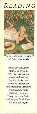 RETIRED AMERICAN GIRL KIRSTEN BOOKMARK! EARLY PLEASANT COMPANY READING BOOKMARK