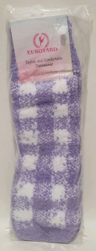 "NWT Eurotard 72526C Child Plush Plaid Lilac White Leg Warmers 12"" Length Soft"
