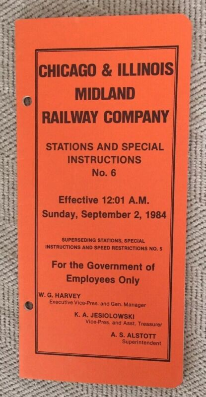 Chicago & Illinois Midland Railway 9/2/84 Stations And Special Instructions