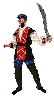 Herren Pirat Prinz Seeräuber hoher See Haken Kostüm 5 Teile Kostüm NEU XL