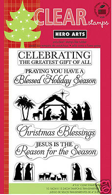 HERO ARTS Clear Stamps GREATEST GIFT # CL559 CHRISTMAS NATIVITY JESUS BLESSINGS ()