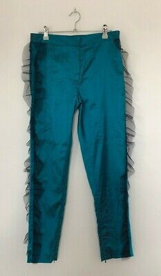 House of Holland Turquoise Blue Slub Silk Frill Festival Party Trousers Sz 8
