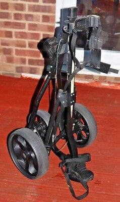 G0 Black 3 Wheel with Brake Sturdy Collapsible Golf Trolley