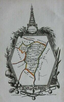Miniature antique map, BAS RHIN, STRASBOURG, SAVERNE, FRANCE, A.M. Perrot, 1824