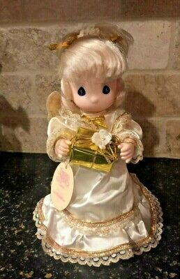Vintage Precious Moments Gift of Joy White, Gold Blonde Angel Tree Topper, Tag 9