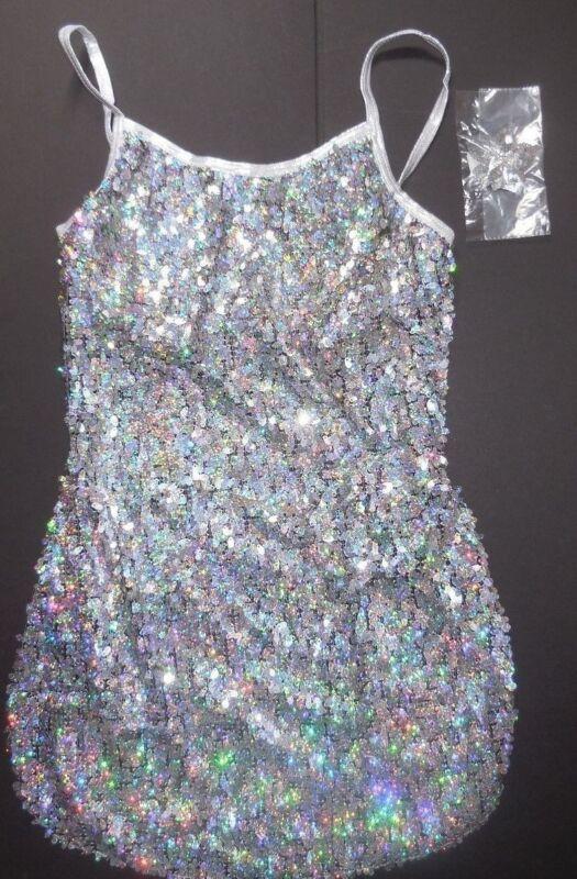 NWT Teardrop camisole sequin dress Hologram Silver Side vent Ladies szs Foiltrim
