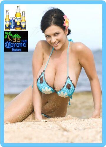 Corona Extra Busty Beer Girl Sexy Refrigerator / Tool Box Magnet Man Cave Fridge