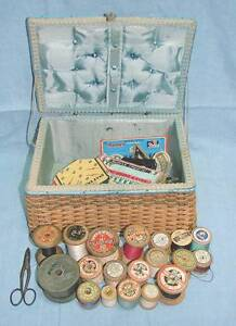 timber cotton reels spools Antique Sewing Box buttonhole scissors Kingswood Penrith Area Preview