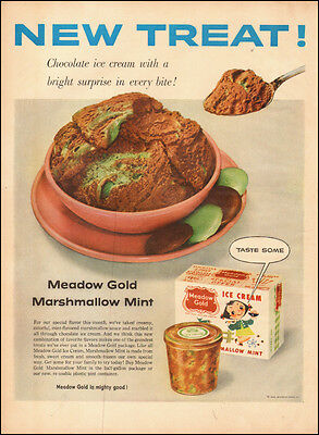 1955 vintage AD, Meadow Gold Ice Cream Marshmallow Mint  Dessert (093014)