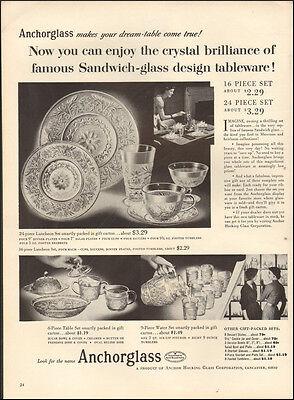954 vintage AD, ANCHORGLASS, Sandwich Glass Replica, Anchor Hocking  (050614)