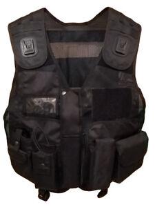 Black Tactical Patrol Vest for Security, Enforcement, Dog Handler, Tac Vest