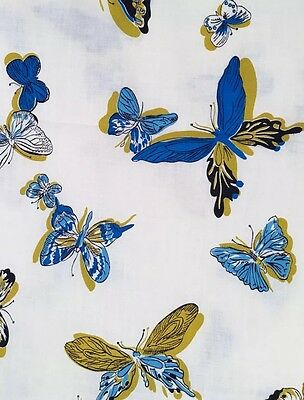 5 Yards Vintage 1950s/50s Blue & Gold Butterfly Novelty Print Cotton Fabric 60s