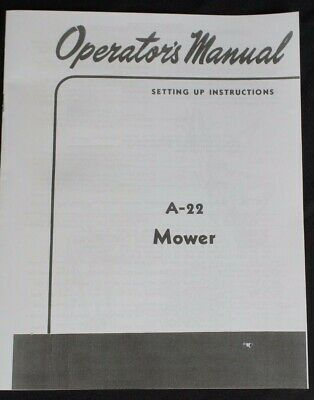 Ih Farmall Mccormick A-22 Super A 100 130 140 Sickle Mower Owners Manual