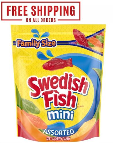 SWEDISH FISH Assorted Mini Soft & Chewy Candy, Family Size, 1.8 lb Bag