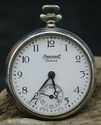 Antique Ingersoll Yankee Pocket Watch FOR SPARES OR REPAIR 50.2mm (E3Q)