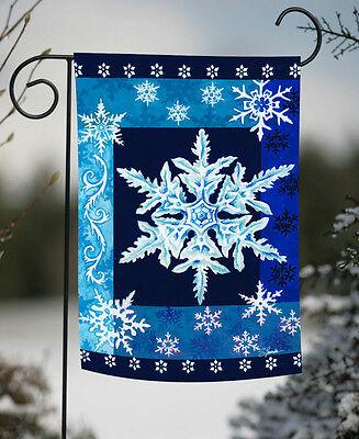 Toland Cool Snowflakes 12.5 x 18 Winter Christmas Blue Garden Flag