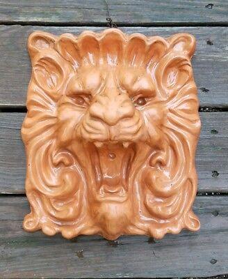 Vintage LION Head Sculpture Terra Cotta Clay Made Garden Decor wall Plaque RARE