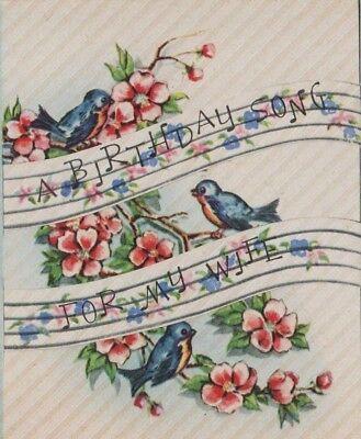 VTG 1940'S BLUE BIRDS CHERRY BLOSSOMS BIRTHDAY SONG GREETING CARD