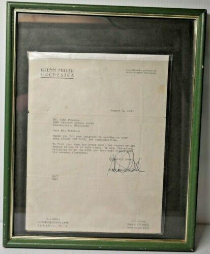 Original 1940 Glenn Miller Signed Letter Autograph
