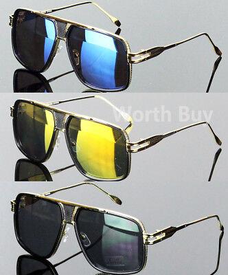 New Mens Pilot Gold Hip Hop Fashion Mirror Sunglasses DMC Run Square Designer