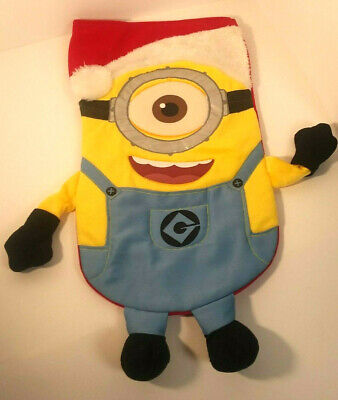 Disney Despicable Me 2 Stocking Carl Plush Fabric Christmas Holiday Yellow Red