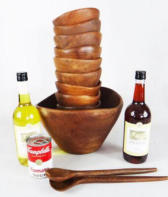 - TEAK wood MCM Salad bowl solid set good wood thailand brutalist natural rice