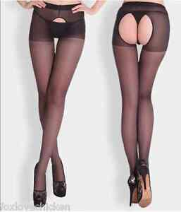 Sexy LINGERIE Stockings Black Sheer Pantyhose CROTCHLESS Tights