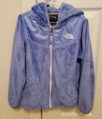 THE NORTH FACE Periwinkle Furry Fleece Full Zip Hooded GIRLS Jacket size 7/8