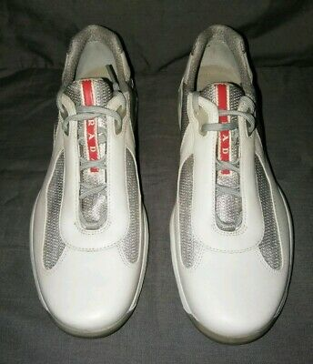 NEW PRADA Nevada Bike Low Top Trainers Sneakers Cream/Grey Sz (Low Top Pradas)