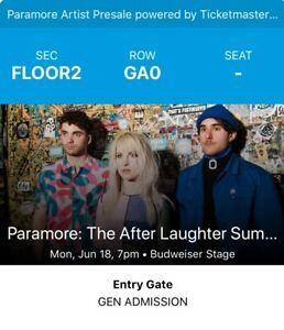 Paramore - 1 PIT ticket - Toronto - Budweiser Stage