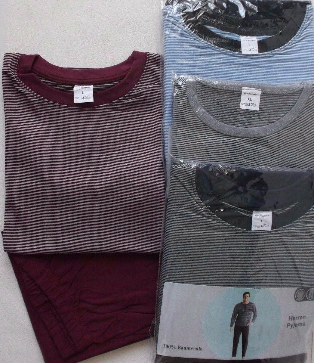Herren Pyjama Schlafanzug Gr. M L XL  Langarm