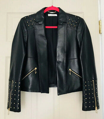 $1575 AUTH VERSACE Leather Jacket Size XS