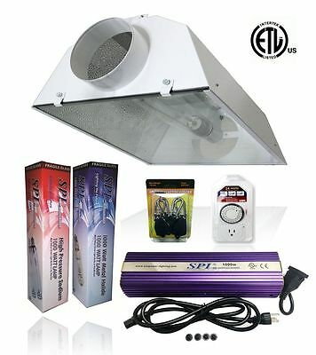 SPL 400w 600w 1000w Watt Grow Light Kit HPS MH Air Cooled Hood Set for Plant  ()