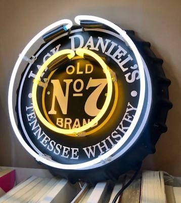 JACK DANIELS BOTTLE CAP WHISKY LAMP DANIEL'S CLUB WALL BAR BEER LIGHT NEON SIGN, used for sale  China