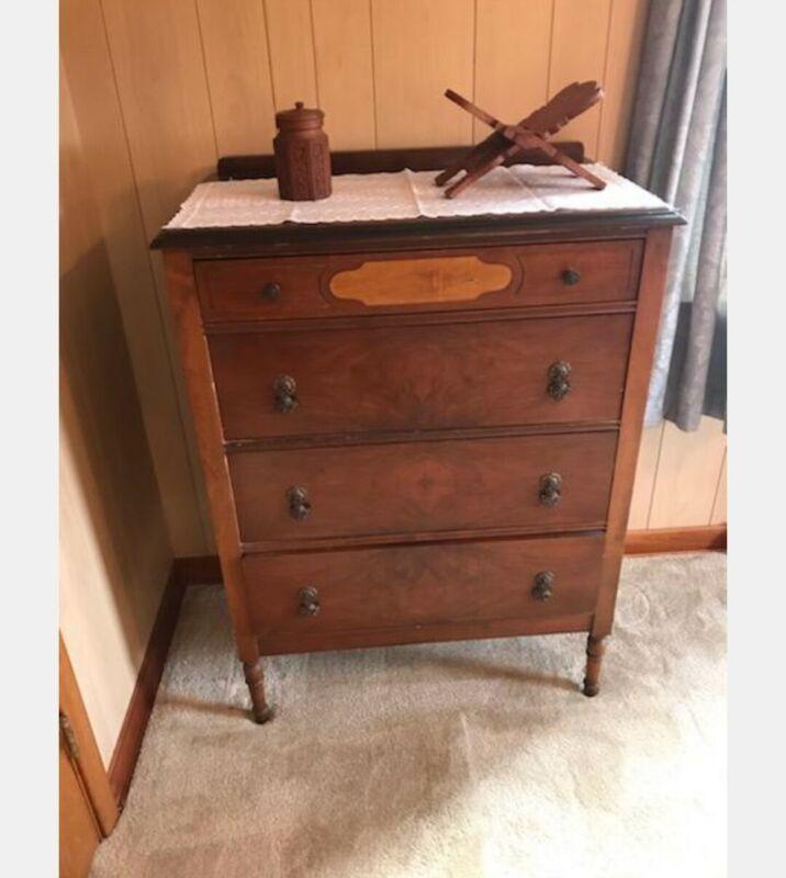 Vintage 1940s Solid Wood Bedroom Suite Set Vanity Dressers Full Bed Sideboard