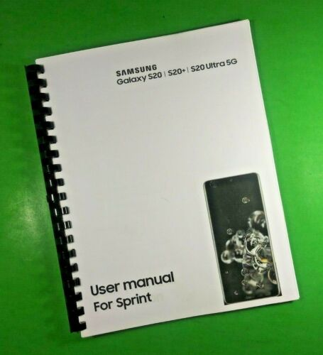 """LASER 8.5X11"""" Samsung Galaxy S20 + Ultra 5G for Sprint Phone 177 Pg Users Manual"""