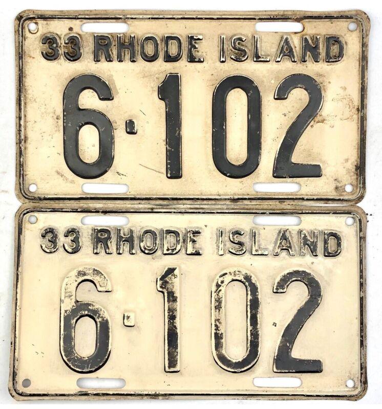 1933 Rhode Island License Plate PAIR #6-102