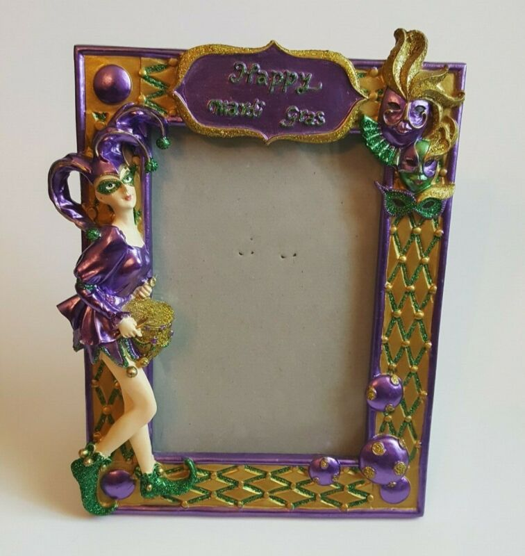 Mardi Gras Photo Frame Heavy Resin Happy Mardi Gras 4x6 Photo 3D Lady Jester 8x6