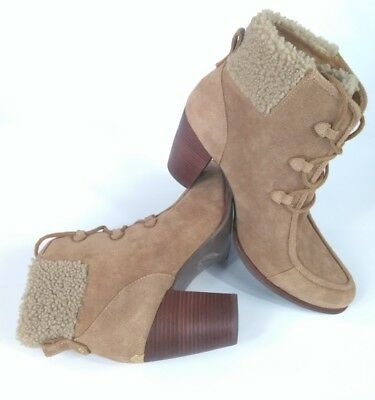 Ugg Australia Analise Chestnut Suede Sheepskin Ankle Boots Women's Booties Sz 12