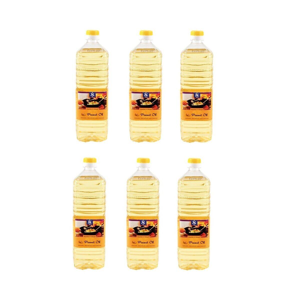 6er Pack: 6 x 1 Liter reines Erdnussöl Erdnußöl Peanut Oil Erdnuss Öl Holland