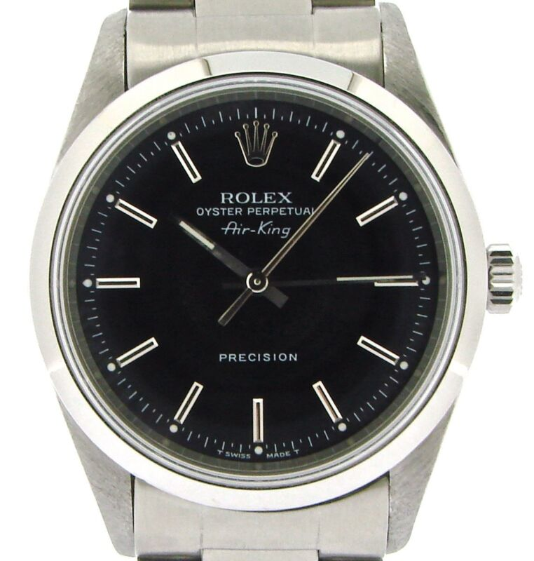 Rolex Air King Mens Stainless Steel Ss Watch Oyster Style Band Black Dial 14000