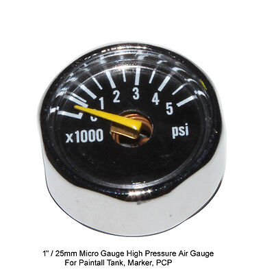 (Micro Gauge 1 inch 5000 psi High Pressure for HPA Nitro air tank, CO2, PCP )