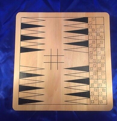 """Two Sided Wood Game Board 11""""X11 Backgammon Solitaire Toy Strategy wooden kids !"""
