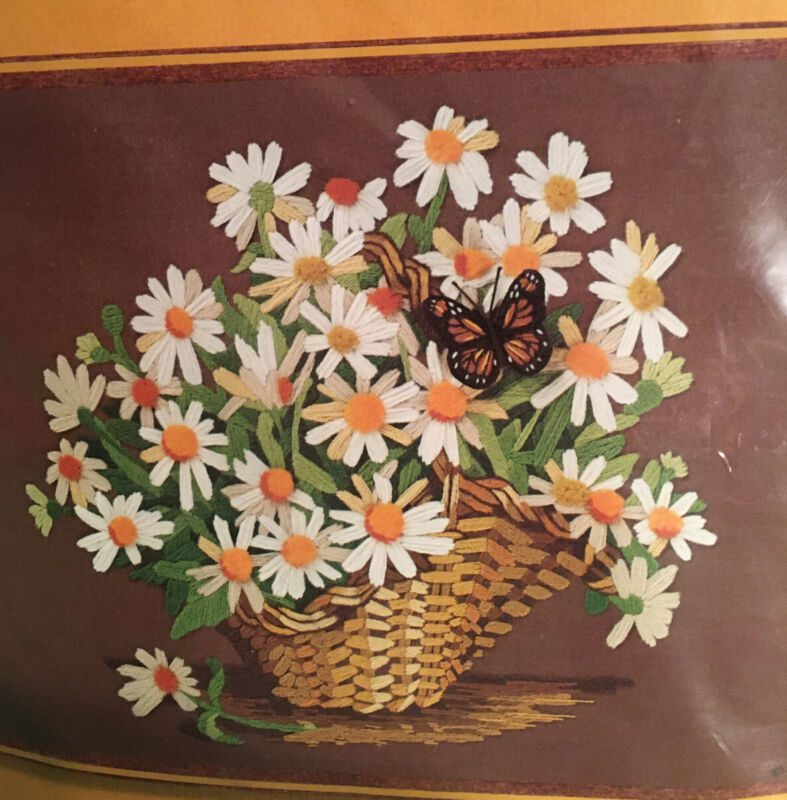 "OOP Sunset Stitchery Crewel Kit ""Daisies In a Basket"" 16"" X 20"""