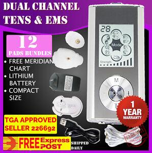 Dual Channel TENS Machine Unit Body Pain Relief Massager Portable + 8 Pads A28