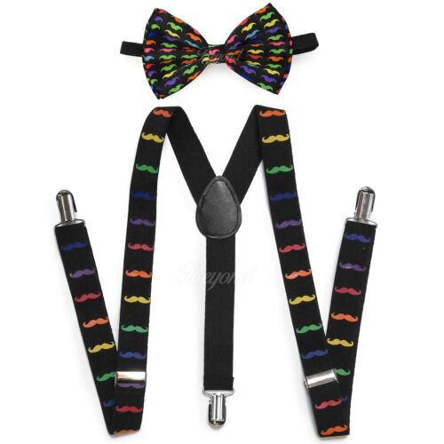 Rainbow Mustache Suspender + Clip On Bow-tie Matching Set For Adults Men Women