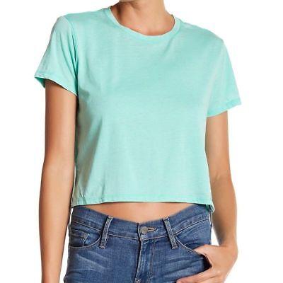 Abound Womens Medium Crop Crew Neck Burnout Tee T-Shirt Mint Green NEW
