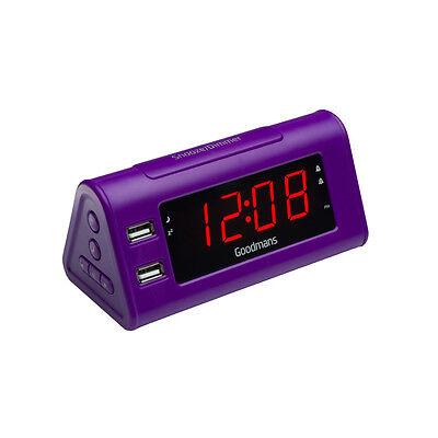 Goodmans GCRUSB03 Alarm Clock Radio With Dual USB Charging